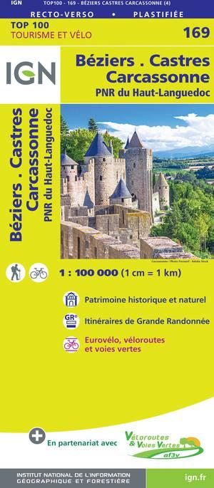 IGN Fietskaart Wegenkaart 169 Béziers - Castres 1:100.000 TOP100