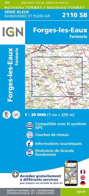 IGN 2110SB Forges-les-Eaux - Formerie 1:25.000 Série Bleue Topografische Wandelkaart
