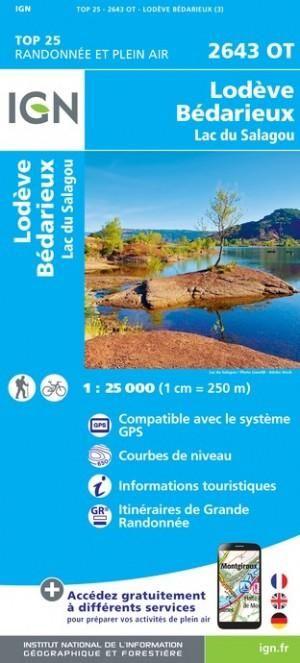 IGN 2643OT Lodève - Bédarieux 1:25.000 TOP25 Topografische Wandelkaart