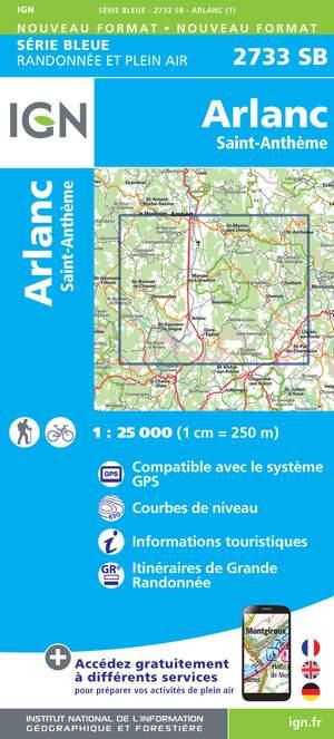 IGN 2733SB Arlanc - St-Anthème 1:25.000 Série Bleue Topografische Wandelkaart