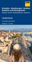 ADAC LänderKarte Kroatien, Montenegro, Serbien, Bosnien u. Herzegowina 1:750 000