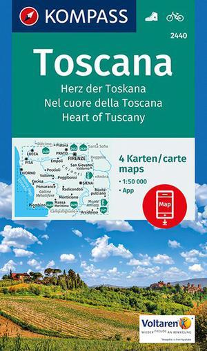 Kompass 2440 Toscane 4-delige Set Duits Engels Italiaans 1:50.000