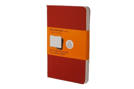 Moleskine Ruled Cahier ( set of 3) Cranberry Red pocket