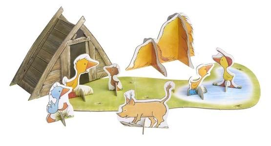 Gonnie en haar vriendjes spelen op de boerderij