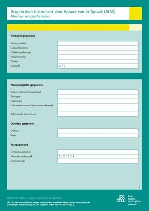 Diagnostisch instrument voor apraxie van de spraak (DIAS)