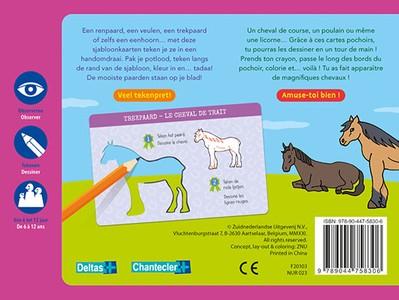 Zo teken je paarden - 12 sjabloonkaarten / Dessine des chevaux – 12 cartes pochoirs