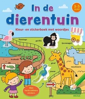 Kleur-en stickerboek met woordjes - In de dierentuin (3-5 j.)