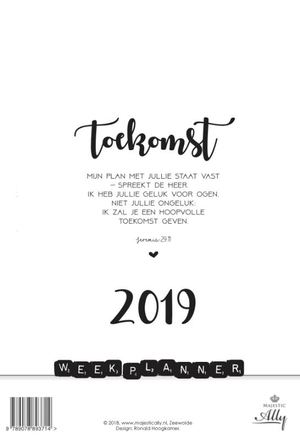 Weekplanner Words and Letters 2019