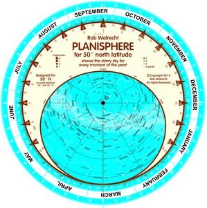 Planisfeer voor 50° NB ENG