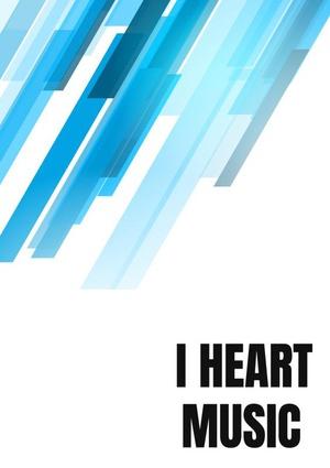 Notenschrift- Notenbalken- I Heart music (A5) Allets comfort